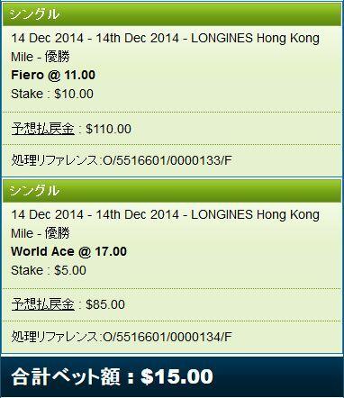 香港マイル2014フィエロ、ワールドエース馬券.jpg